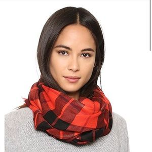 NWT Kate Spade Red Woodland Plaid Oblong Scarf